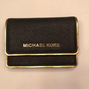 Michael Kors card case wallet black gold